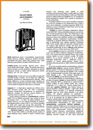 Telefunken 620-SUPERHET Legacy Radio Main Technical Manual - PDF & Tech Help* | Czechoslovakian