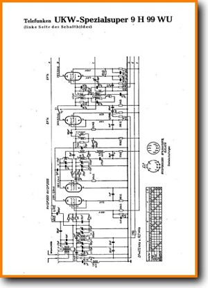 Telefunken 9-H-99-WU Tube Amplifier Main Schematics - PDF & Tech Help* | English