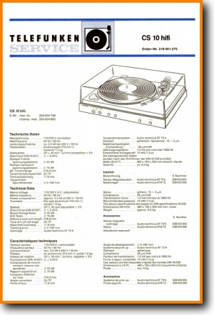 Telefunken CS-10 Turntable Record Player Main Technical Manual - PDF & Tech Help* | German
