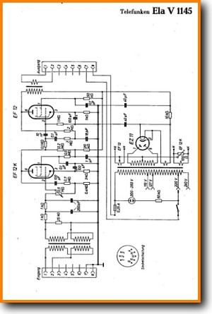 Telefunken Ela-V-1145 Tube Amplifier Main Schematics - PDF & Tech Help* | German