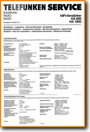 Telefunken HA-800 Amp Receiver Main Technical Manual - PDF & Tech Help*    English