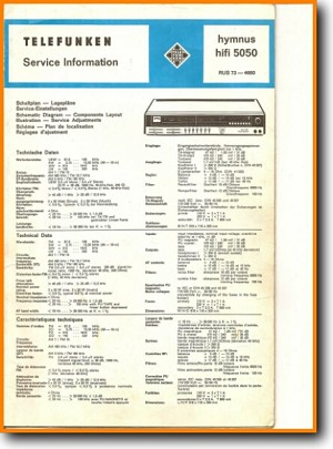 Telefunken HYMNUS-HIFI-5050 Amp Receiver Main Technical Manual - PDF & Tech  Help*   German