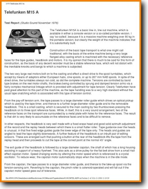Telefunken M-15-A Tape Player Main Product Review - PDF & Tech Help* | English