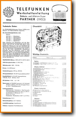 Telefunken PARTNER Legacy Radio Main Technical Manual - PDF & Tech Help* | German