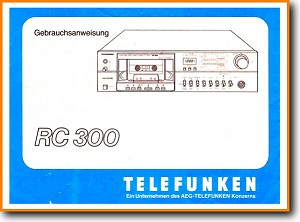 Telefunken RC-300 Tape Player Main User Book - PDF & Tech Help* | German