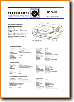 Telefunken RS-30 Turntable Record Player Main Schematics - PDF & Tech Help* | German