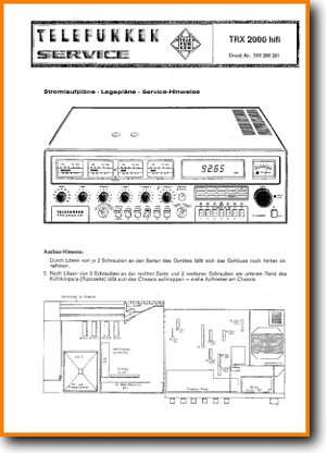 Telefunken TRX-2000-HIFI Amp Receiver Main Technical Manual - PDF & Tech Help* | English