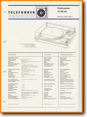 Telefunken TS-860 Turntable Record Player Main Technical Manual - PDF & Tech Help* | English