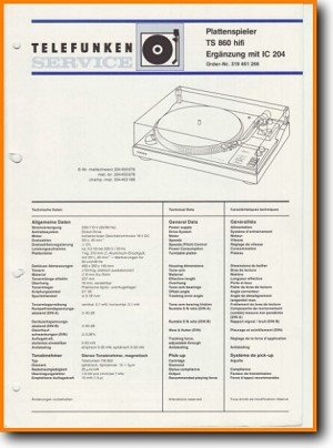 Telefunken TS-860 Turntable Record Player Addendum - A Technical Manual - PDF & Tech Help* | English