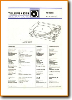 Telefunken TS-950 Turntable Record Player Main Technical Manual - PDF & Tech Help* | German