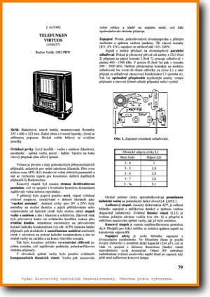 Telefunken VIRTUOS Legacy Radio Main Technical Manual - PDF & Tech Help* | Czechoslovakian