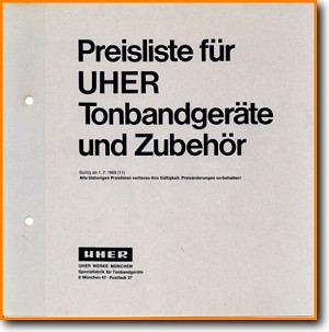 Uher Price List 1969 Tape Player Addendum - A Article - PDF & Tech Help* | German