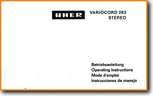 Uher Variocord 263 Stereo Tape Player Main User Book - PDF & Tech Help* | English