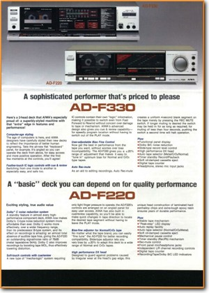 Aiwa ADF-330 Tape Player Main Brochure - PDF & Tech Help* | English