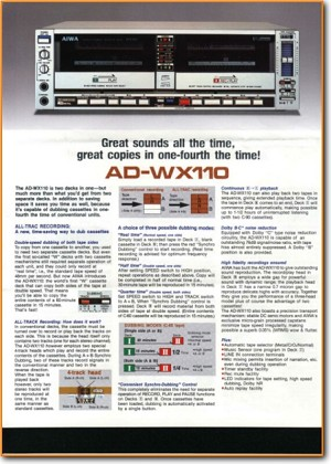 Aiwa ADWX-110 Tape Player Main Brochure - PDF & Tech Help* | English