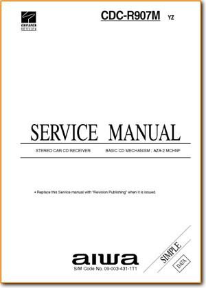 Aiwa CDCR-907-M Automotive Audio Main Technical Manual - PDF & Tech Help* | English