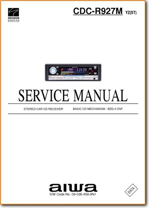 Aiwa CDCR-927-M Automotive Audio Main Technical Manual - PDF & Tech Help* | English