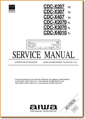 Aiwa CDCX-3070 Automotive Audio Main Technical Manual - PDF & Tech Help* | English