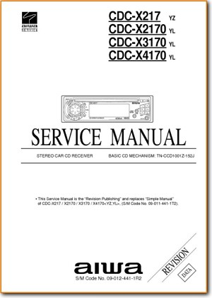 Aiwa CDCX-4170 Automotive Audio Main Technical Manual - PDF & Tech Help* | English
