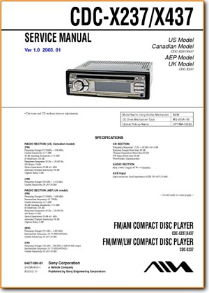 Aiwa CDCX-437 Automotive Audio Main Technical Manual - PDF & Tech Help* | English