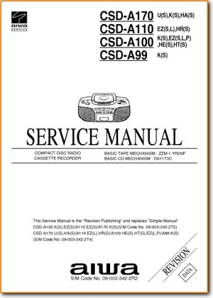 Aiwa CSDA-110 Portable Stereo Main Schematics - PDF & Tech Help* | English