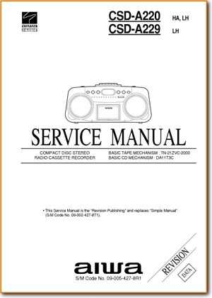 Aiwa CSDA-220 Mini Shelf System Addendum - A Technical Manual - PDF & Tech Help* | English