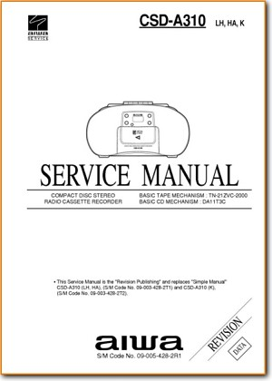 Aiwa CSDA-310 Portable Stereo Main Schematics - PDF & Tech Help* | English