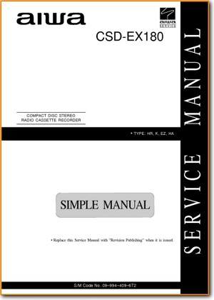 Aiwa CSDEX-180 Portable Stereo Main Technical Manual - PDF & Tech Help* | English
