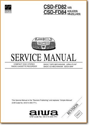 Aiwa CSDFD-84 Portable Stereo Main Technical Manual - PDF & Tech Help* | English