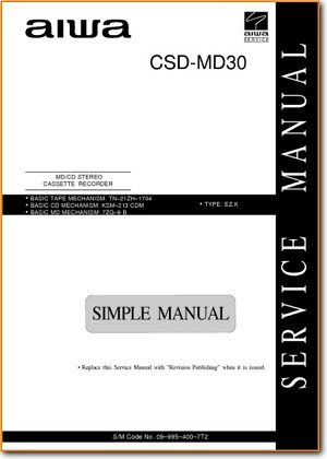 Aiwa CSDMD-30 Portable Stereo Main Technical Manual - PDF & Tech Help* | English