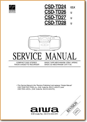 Aiwa CSDTD-27 Portable Stereo Main Technical Manual - PDF & Tech Help* | English