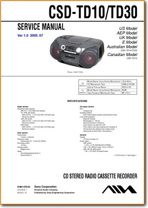 Aiwa CSDTD-30 Portable Stereo Main Technical Manual - PDF & Tech Help* | English