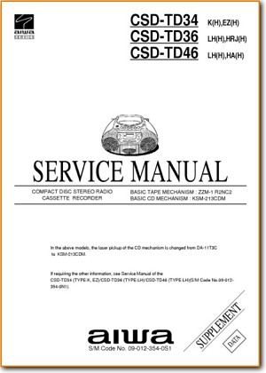 Aiwa CSDTD-36 Portable Stereo Addendum - B Technical Manual - PDF & Tech Help* | English