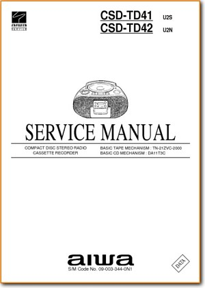 Aiwa CSDTD-41 Portable Stereo Main Technical Manual - PDF & Tech Help* | English