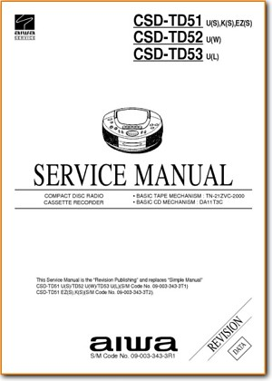 Aiwa CSDTD-52 Portable Stereo Main Technical Manual - PDF & Tech Help* | English