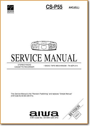 Aiwa CSP-55 Portable Stereo Addendum - B Technical Manual - PDF & Tech Help* | English