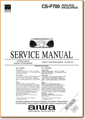 Aiwa CSP-700 Portable Stereo Main Technical Manual - PDF & Tech Help* | English