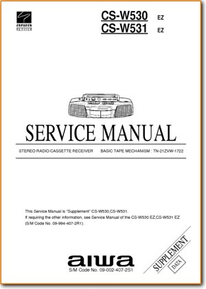 Aiwa CSW-530 Portable Stereo Addendum - B Technical Manual - PDF & Tech Help* | English