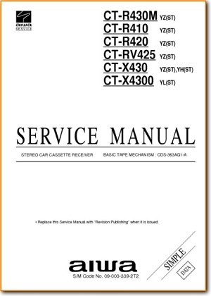 Aiwa CTR-430-M Automotive Audio Main Technical Manual - PDF & Tech Help* | English