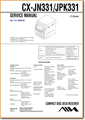 Aiwa CXJN-331 Mini Shelf System Main Technical Manual - PDF & Tech Help* | English