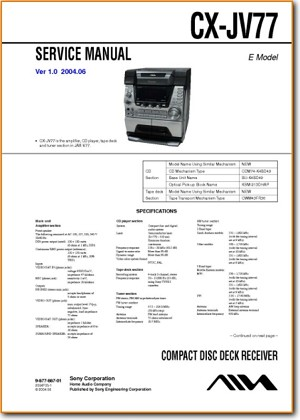 Aiwa CXJV-77 Mini Shelf System Main Technical Manual - PDF & Tech Help* | English