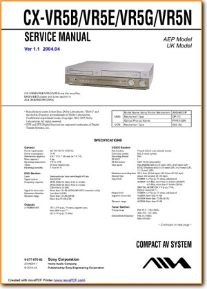 Aiwa CXVR-5-E DVD Player Main Technical Manual - PDF & Tech Help* | English