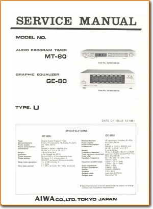 Aiwa GE-80 Amp Receiver Main Technical Manual - PDF & Tech Help* | English