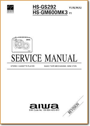 Aiwa HSGS-292 Tape Player Addendum - B Technical Manual - PDF & Tech Help* | English
