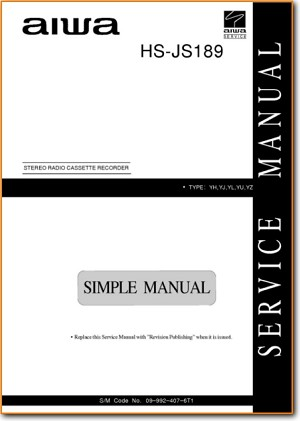 Aiwa HSJS-189 Portable Stereo Main Technical Manual - PDF & Tech Help* | English