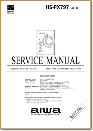 Aiwa HSPX-797 Portable Stereo Main Technical Manual - PDF & Tech Help* | English