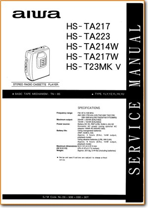 Aiwa HSTA-223 Portable Stereo Main Technical Manual - PDF & Tech Help* | English
