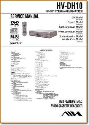 Aiwa HVDH-10 VCR Main Technical Manual - PDF & Tech Help* | English