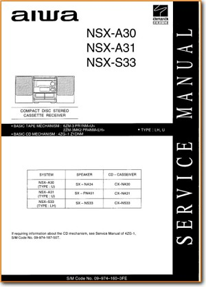 Aiwa NSXA-30 Mini Shelf System Main Technical Manual - PDF & Tech Help* | English