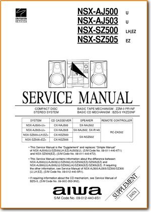 Aiwa NSXAJ-503 Mini Shelf System Addendum - B Technical Manual - PDF & Tech Help* | English